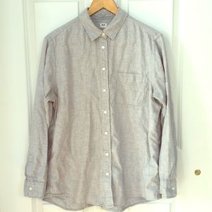 Light grey Uniqlo button-up flannel shirt XL
